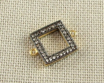 SHOP SALE 17mm Square Black Rhodium and 22k gold over Sterling Silver and Pave Set White Topaz Loop Connector Ring Link (1 piece)