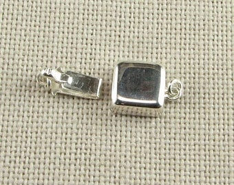 SHOP SALE Bright and Shiny Square Sterling Silver Box Clasp Stamped 925 (1 piece)