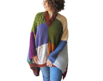 Patchwork Poncho - Plus Size - Over Size
