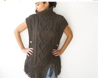 20% WINTER SALE Brown Cable Knit Poncho by Afra