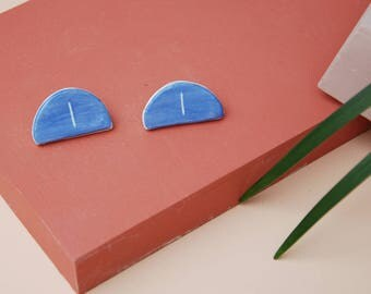 Blue Ceramic Earrings / Half Circle Ceramic Studs / Geometric Earrings