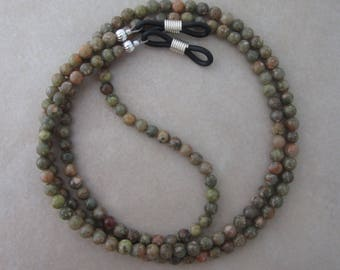 autumn jasper eyeglass chain holder silver ends