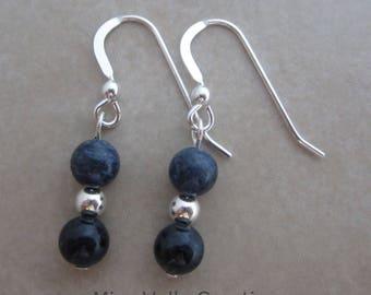 dumortierite sterling silver dangle earring