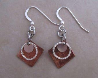 karma earrings copper sterling silver