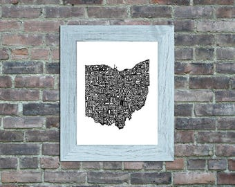 Ohio typography map framed art print state poster wall decor engagement wedding housewarming birthday gift