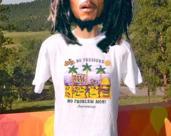 vintage 90s t-shirt JAMAICA no problem mon reggae rasta tee shirt XXL Medium