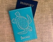 Passport Holder Sea Turtle - Turquoise Faux Leather Passport Cover- Tropical Turtle Passport Cover with Name - Travel Gift Personalized