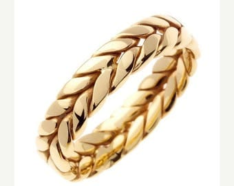 Memorial Day Sale 14 kt Gold Braided Hand Crafted 6mm Wide Commitment or Wedding Band Custom made Size 9.5 through 14
