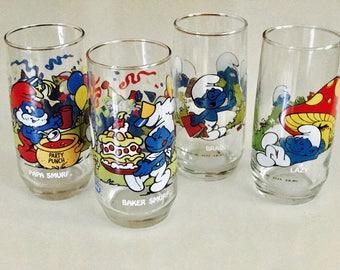 Vintage Smurf Drinking Glasses : Set of 4