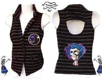Grateful Dead Vest, Patch, Ready to ship, hippie vest, Bertha Vest, Knit vest, Small Grateful Dead