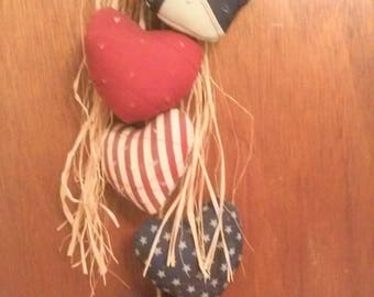 Patriotic Swag,Americana Heart Swag,Wall Swag,Swag,Forth of July Decor,Door Hanger