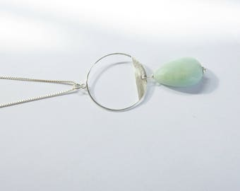 Long sterling silver box chain necklace with silver circle finding and Amazonite teardrop  bead, Geometric