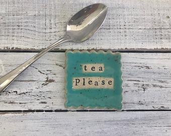 Stamped Ceramic coffee spoon rest -tea bag rest - Ring Holder- Trinket dish-stamped dish- Tea Please- tea light holder- coffee spoon- Jade-