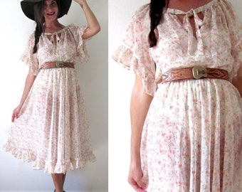 SALE SECTION / 50% off Vintage 60s 70s Sheer Floral Bohemian Midi Dress (size small, medium)