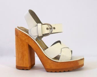 SUMMER SALE/ 30% off Vintage 90s does 70s Chunky White Leather and Wood Platform Sandals (size 5)