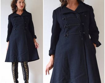 SUMMER SALE/ 30% off Vintage 60s 70s Lassie Black Wool Sergeant Pepper Double Breasted Cropped Princess Pea Coat (size medium, large)