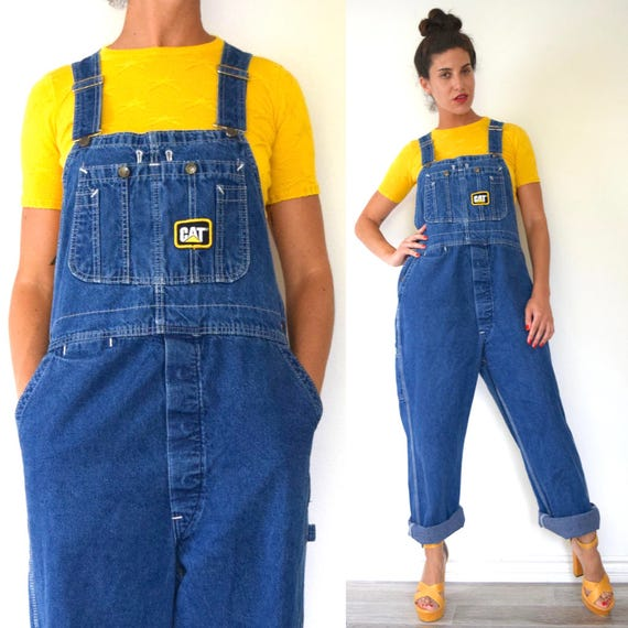 Vintage 80s 90s Dark Wash Denim Overalls with Caterpillar Tractor Patches (size medium, large)