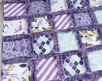 Mermaid Quilt - Mermaid Blanket - Purple Minky Rag Quilt - Mermaid Bedding - Mermaid Baby Gift - Minky Quilt - Baby Girl Crib Quilt