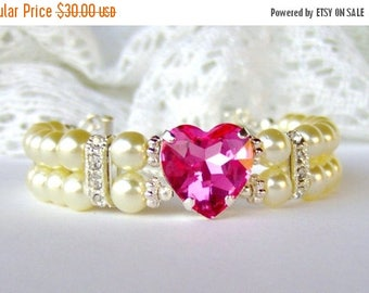 SALE Pink heart rhinestone bracelet / Double strand pearl bracelet / ivory pearl bracelet / gift for her / Swarovski crystal / Mother's Day