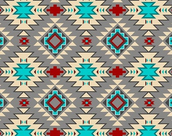 Native Argyle, Grey Multi ,Abstract, Fabric by David Textiles, Southwestern, Cotton Fabric - FAT QUARTER