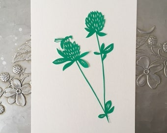 Spring Clover and Bee Papercutting in Green