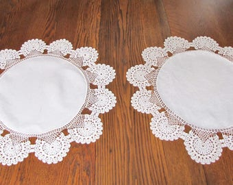Antique Linen Crocheted Table Topper, Pair of Crocheted edge Doilies, Vintage Round Toppers, Handmade, Crocheted Lace Edge, Linen, crafting