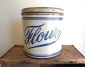 Antique flour tin canister 1910s 1920s - round cookie, metal storage box - farmhouse decor