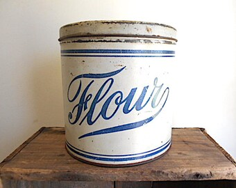 Antique flour tin canister 1910s 1920s - round cookie, metal storage box - farmhouse decor
