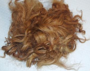 Karakul Sheep Wool Locks for Doll Hair, Doll Wig, Spinning and Felting, Hand Dyed shades of Medium to Dark Blond 1 oz.