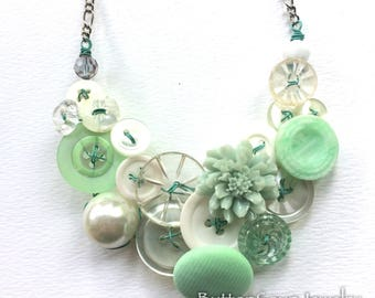 Fresh Mint and Pearly White Vintage Button Necklace