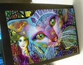 greeting card zentangle cat woman spirit animal blank card