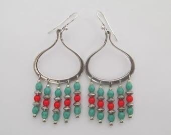 Boho Chandelier Earrings - Turquoise Green/Red Orange