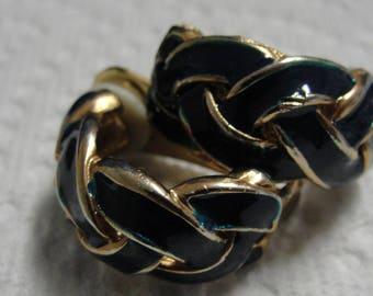 Dark Blue Green Enamel Braided Hoop Clip Earrings