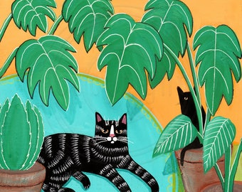 Black Tabby Cat and Table Plants Cat Folk Art Painting