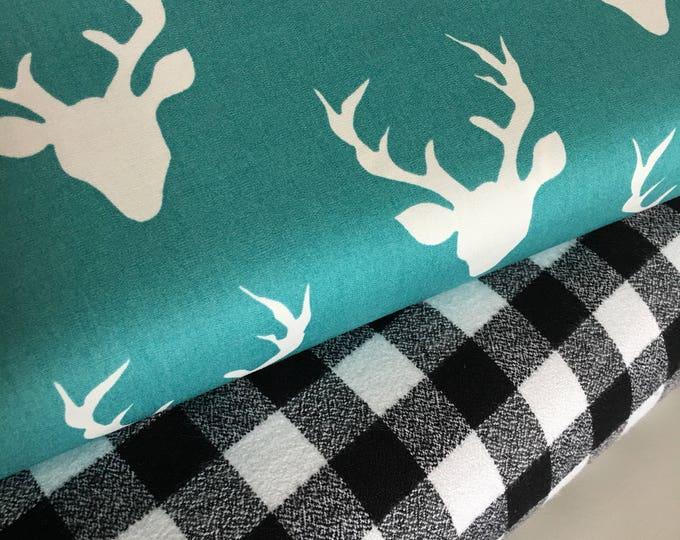 Plaid fabric bundle, Hello Bear fabric, Buck Forest fabric, Grizzly Plaid, Fabric Bundle of 2, Choose The Cuts