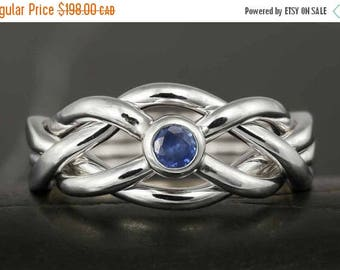 CLOSING SALE Narrow puzzle ring in sterling silver with natural sapphire - Size 9 ready to ship