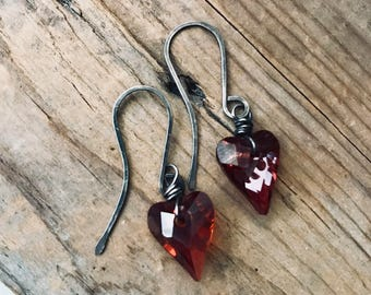 Red Crystal Heart Earrings Oxidized Sterling Silver Swarovski Valentines Jewelry Heart Jewelry Love Romantic Gifts Under 40