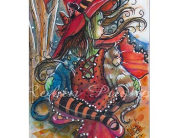 ACEO, Original, Little Witch, 2 cats, cute