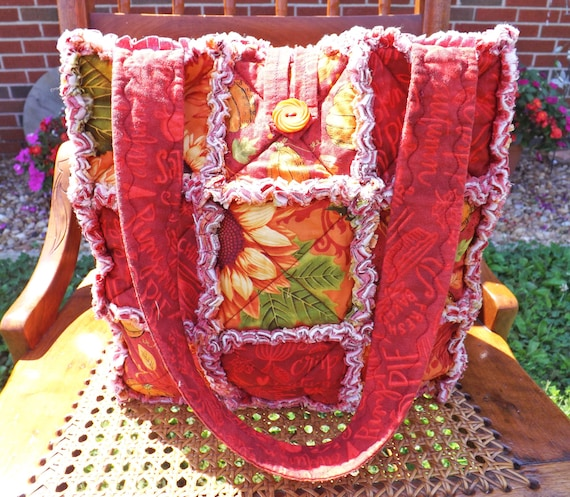 Autumn Rag Quilt Tote made with Gorgeous Fall Colors, Pumpkins, Flowers, Fall Words