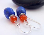 RESERVED for Anjani Matte Lapis Carnelian Sterling Silver Dangle Earrings Blue Orange Gemstone Silver Dangles Sundance Style Boho Earrings