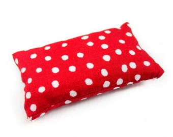 Deep Red/White Polka Dots Pincushion filled with Emery Sand