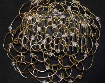 """Kippot - Chapel Cap - Womens Kippah - Headcovering - Gold Wire and Clear Swarovski Crystals 4.5"""""""