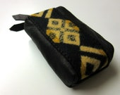 Soft Black Leather Zippered Pouch Coin Purse Change Pouch Appliqued Blanket Wool from Pendleton Oregon