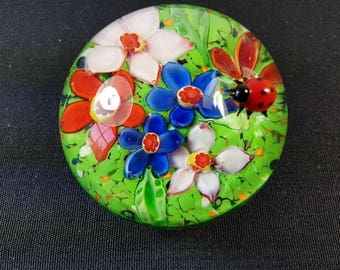 Vintage Art Glass Flower Paperweight with Blown Glass Lady Bug on External Top Hand Made Original