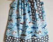 Pillowcase Dress with Sharks Under the Sea Dress Sharktown Girls Dress Shark Dress Ocean Dress Beach Dress Sea Animal Clothes Shark Clothes