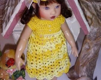Crochet 5 piece outfit Helen Kish Riley Doll 7 8 inch Dress Empire Hat Bottoms Shoes Sunshine Lemon Yellow