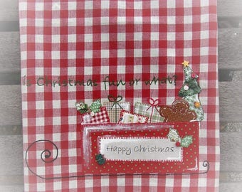 Santa's Sleigh Kitchen Towel l Appliqued Santa's on His Way | Gingerbread - Christmas Tree | Hand Embroidery | Red White Christmas Check