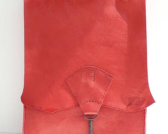 Small raw edge leather bag with vintage key detail - raspberry