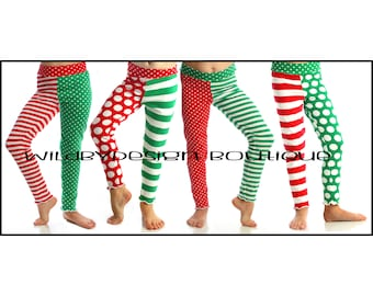 Christmas leggings - baby leggings, toddler leggings, red and white stripe leggings, knit green dot leggings, girl leggings