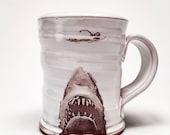 Wheel thrown mug with image of Shark
